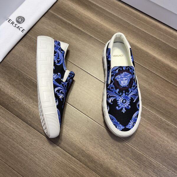 Giày Versace Original Single đen họa tiết xanh