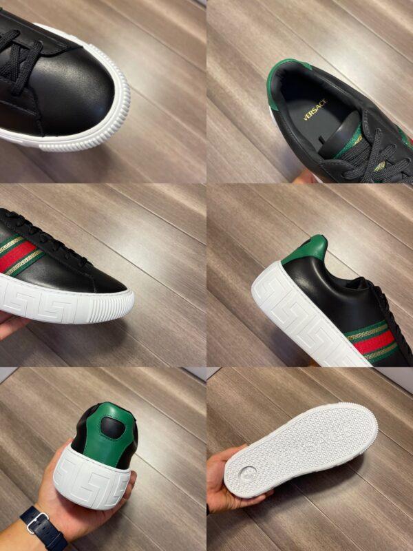 Giày Versace Original Single Vasachi đen vạch xanh đỏ