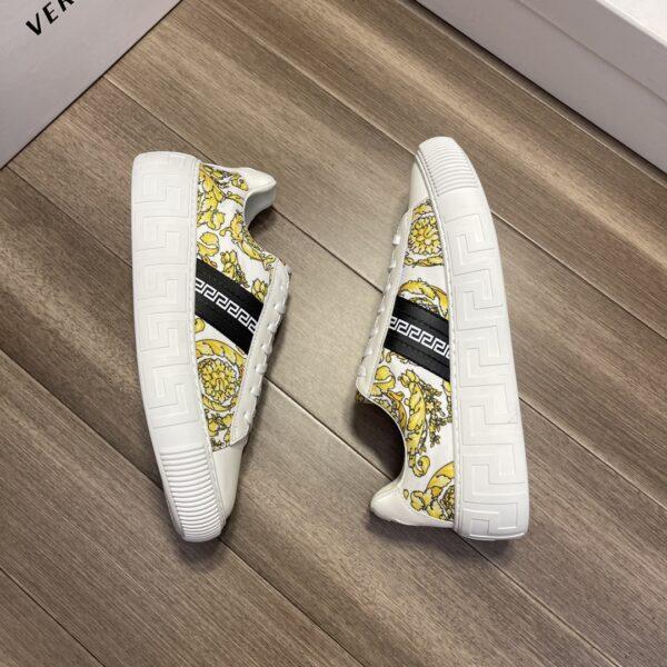 Giày Versace Original Single Vasachi trắng họa tiết vàng