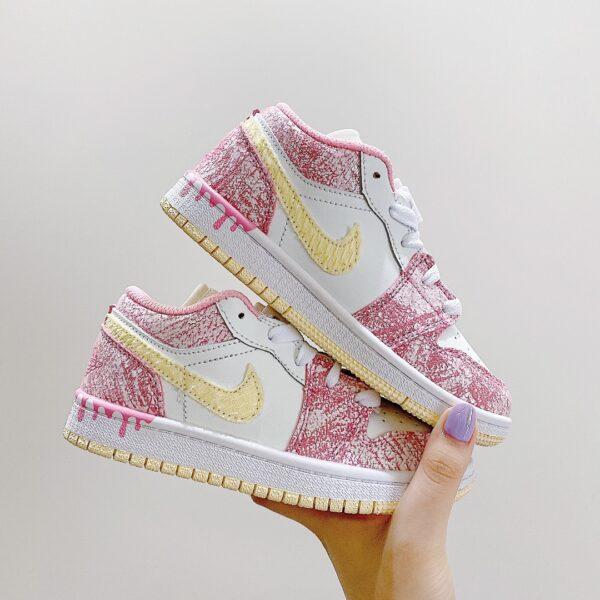 Giày nike jordan low trẻ em màu hồng