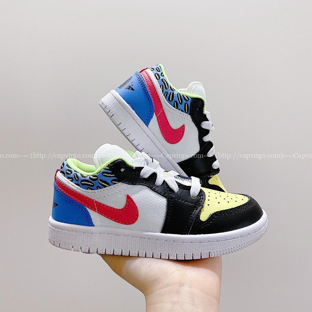 Giày nike jordan low trẻ em màu xanh logo đỏ