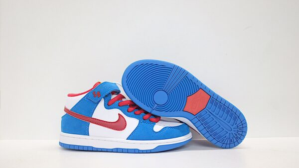 Giày nike sb mid-cut dunk trẻ em màu xanh logo đỏ