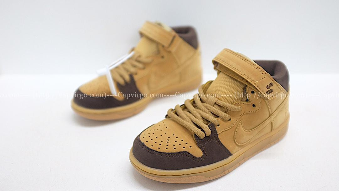Giày nike sb mid-cut dunk trẻ em màu vàng da bò