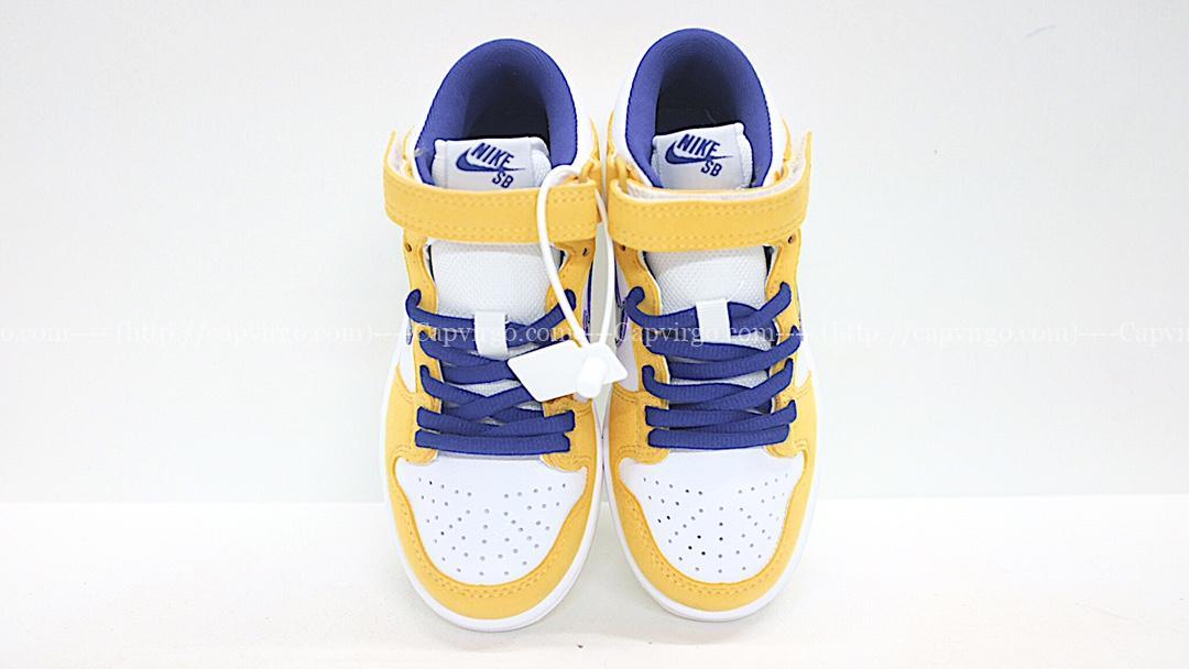 Giày nike sb mid-cut dunk trẻ em màu vàng logo xanh
