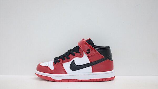 Giày nike sb mid-cut dunk trẻ em màu đỏ logo đen