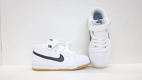 Giày nike sb mid-cut dunk trẻ em màu trắng logo đen
