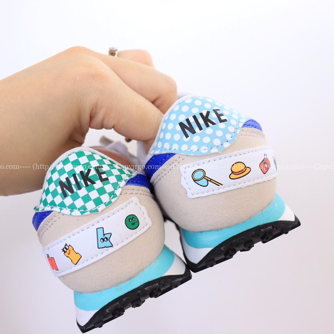 Giày nike trẻ em Waffle II phiên bản G đặc biệt logo xanh