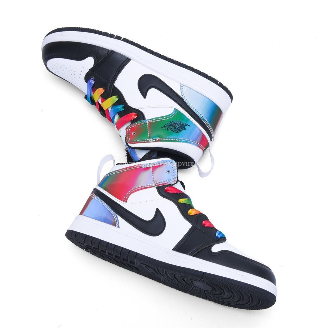 Giày air Jordan 1 trẻ em màu đen dây 7 màu cầu vồng