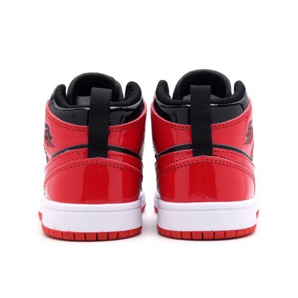 Giày air Jordan 1 trẻ em màu đen đỏ da bóng
