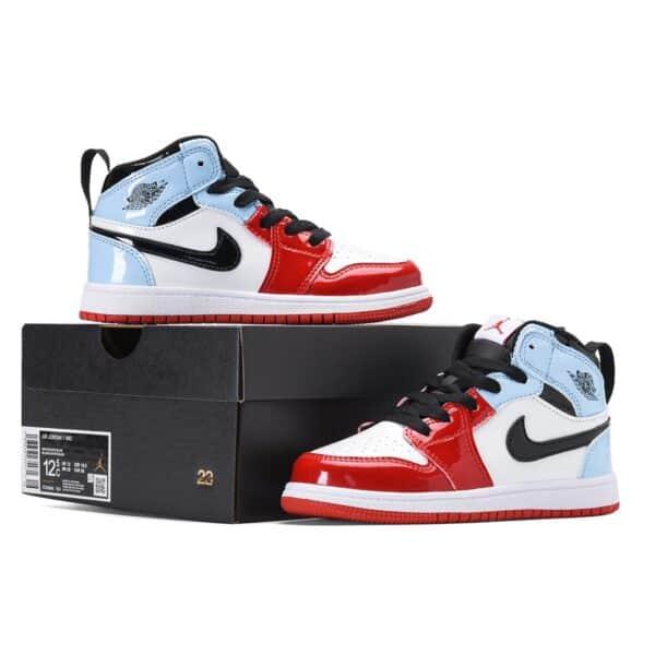 Giày air Jordan 1 trẻ em màu xanh đỏ da bóng