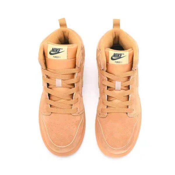 Giày air Jordan 1 trẻ em màu vàng bò da lộn