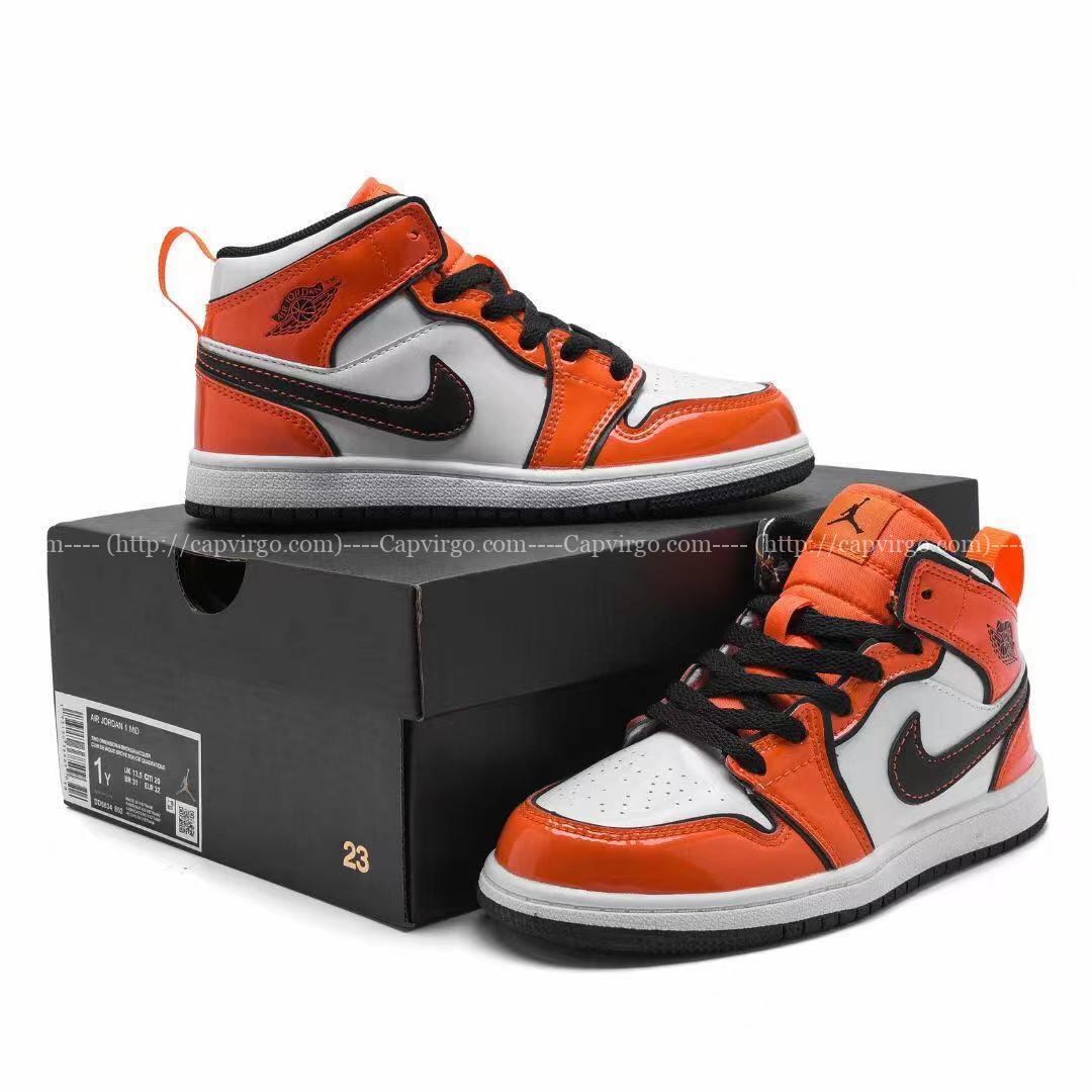 Giày air Jordan 1 trẻ em màu trắng cam da bóng